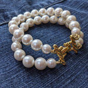 Double Faux Pearl Strand Bracelet